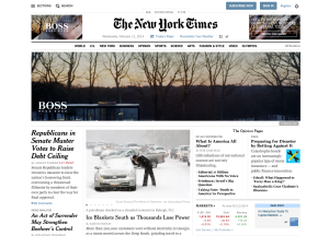 The New York TImes' homepage is organized and comprehensive for reader's.